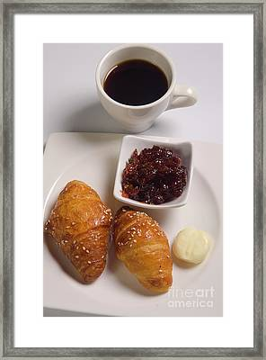 Croissant, Jam And Butter 1 Framed Print by Dondi