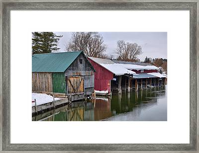 Crooked River Boat House Framed Print