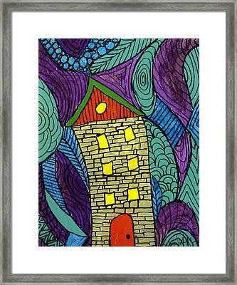 Crooked Yellow Brick House Framed Print by Wayne Potrafka