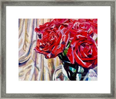 Crimson  Petals Framed Print by Rebecca Glaze