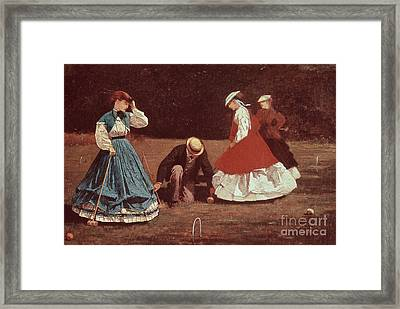 Croquet Scene Framed Print by Winslow Homer