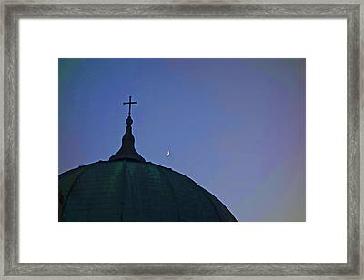 Cross And Moon Framed Print