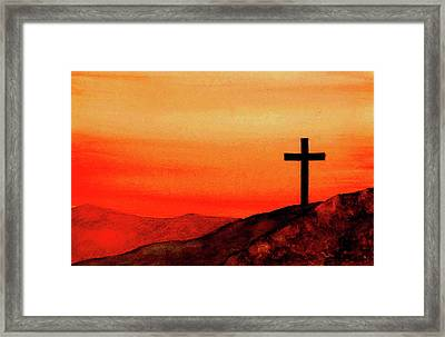 Cross At Sunset Framed Print by Michael Vigliotti
