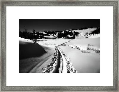 Cross-country Ski Tracks In Yellowstone Framed Print by NPS Diane Renkin