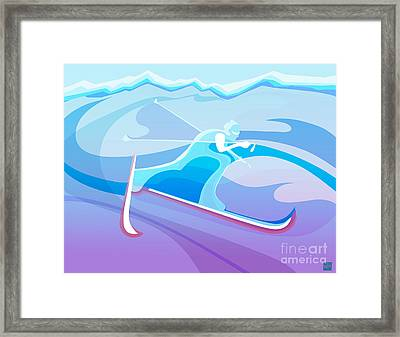 Cross County Skier Abstract Framed Print