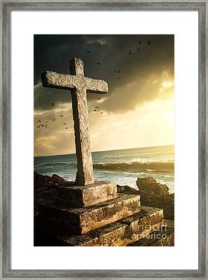 Cross In A Cliff Framed Print
