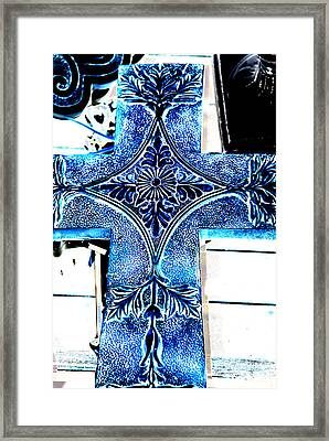 Cross In Blue Framed Print
