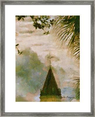 Cross In Distance  Framed Print by Nada Frazier