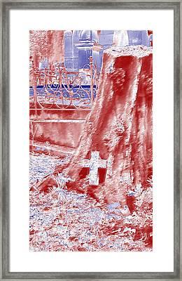 Cross In The Cemetary Framed Print