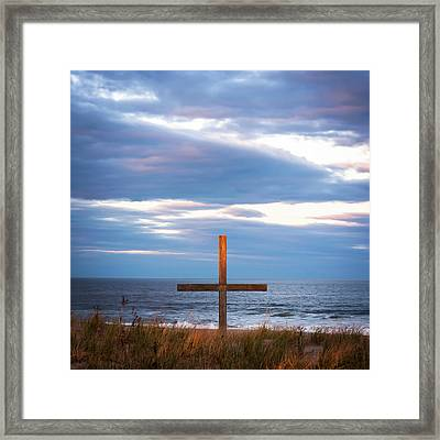 Cross Light Square Framed Print by Terry DeLuco