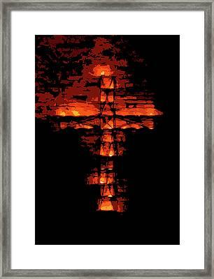 Cross On Fire Framed Print