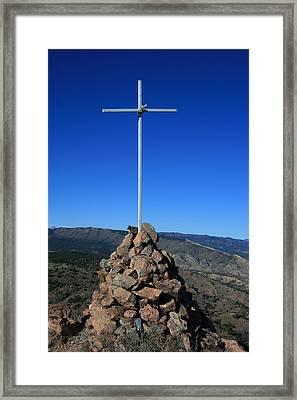 Cross On Fremont Peak Framed Print