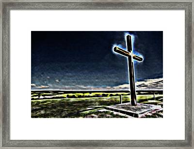 Framed Print featuring the photograph Cross On The Hill by Douglas Barnard