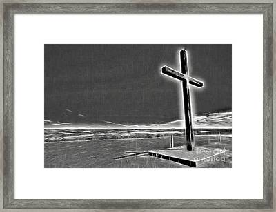 Framed Print featuring the photograph Cross On The Hill V2 by Douglas Barnard