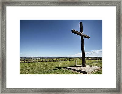 Framed Print featuring the photograph Cross On The Hill V3 by Douglas Barnard