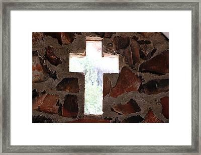Cross Shaped Window In Chapel  Framed Print
