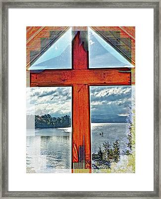 Cross Window Lake View  Framed Print