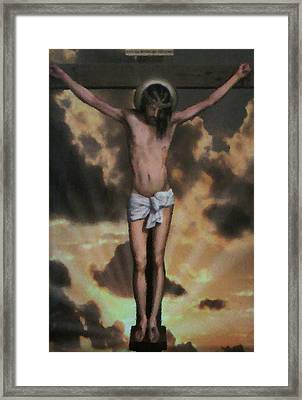 Cross With Rays Of Light Framed Print by Unique Consignment