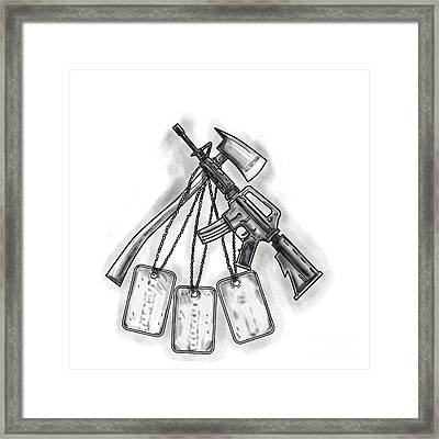 Crossed Fire Ax And M4 Rifle Dog Tags Tattoo Framed Print by Aloysius Patrimonio