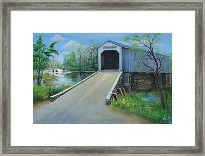 Crossing At The Covered Bridge Framed Print by Oz Freedgood