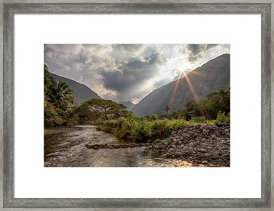 Framed Print featuring the photograph Crossing Hiilawe Stream by Susan Rissi Tregoning