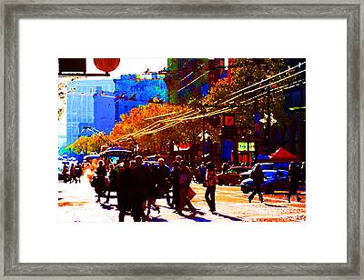 Crossing Market Street . Photo Artwork Framed Print by Wingsdomain Art and Photography