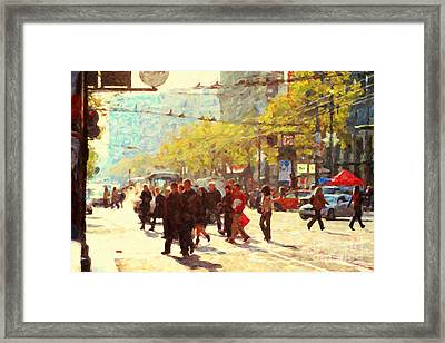 Crossing San Francisco Market Street Framed Print by Wingsdomain Art and Photography