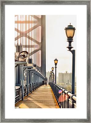 Crossing The Benjamin Franklin Bridge Framed Print