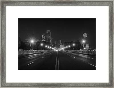 Framed Print featuring the photograph Crossing The Bridge To Downtown Dallas At Night In Black And White by Todd Aaron