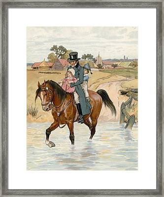 Crossing The Brook Framed Print by English School