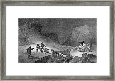 Crossing The Ice Belt At Coffee Gorge Framed Print by Vintage Design Pics