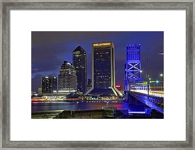 Crossing The Main Street Bridge - Jacksonville - Florida - Cityscape Framed Print by Jason Politte