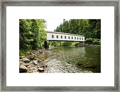 Crossing The Mckenzie River Framed Print