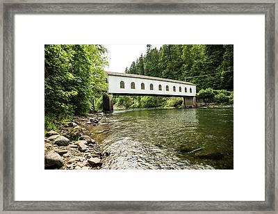 Crossing The Mckenzie River Framed Print