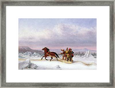 Crossing The Saint Lawrence From Levis To Quebec On A Sleigh Framed Print
