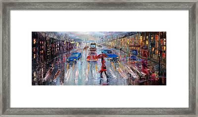 Crossing The Street Framed Print by Boyan Dimitrov