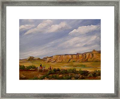 Crossing The Valley Framed Print by Hilda Hayson