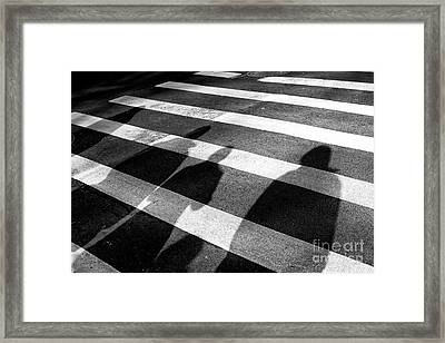 Framed Print featuring the photograph Crossings Shadow People by John Rizzuto