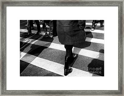 Framed Print featuring the photograph Crossings Black Boots by John Rizzuto
