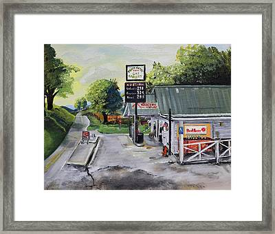 Framed Print featuring the painting Crossroads Grocery - Elijay, Ga - Old Gas And Grocery Store by Jan Dappen