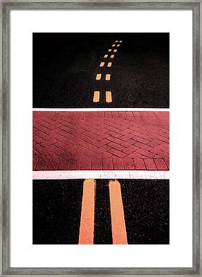 Crosswalk Conversion Of Traffic Lines Framed Print