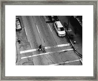 Crosswalk From Above Framed Print by Dylan Murphy