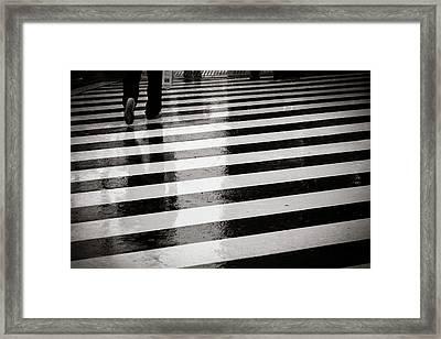 Crosswalk In Rain Framed Print by photo by Jason Weddington