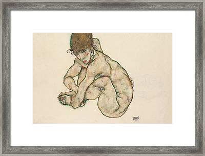 Crouching Nude Girl Framed Print by Egon Schiele