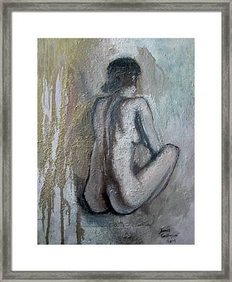 Crouching Nude Framed Print by James Gallagher