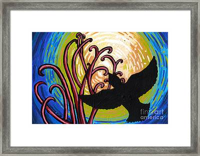 Crow And Full Moon In Winter Framed Print by Genevieve Esson