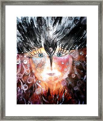 Framed Print featuring the painting Crow Child by 'REA' Gallery