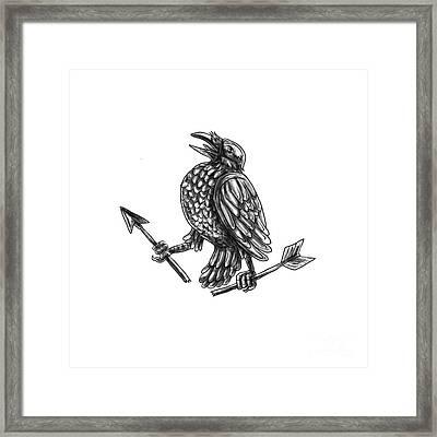 Crow Clutching Broken Arrow Tattoo Framed Print by Aloysius Patrimonio