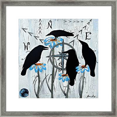Crow Flowers Framed Print
