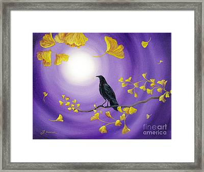 Crow In Ginkgo Leaves Framed Print
